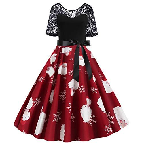 TAMALLU Sweater Kleid Damen Weihnachten Mode Print Lace Gürtel Regular Täglich Tops(Weinrot,2XL)