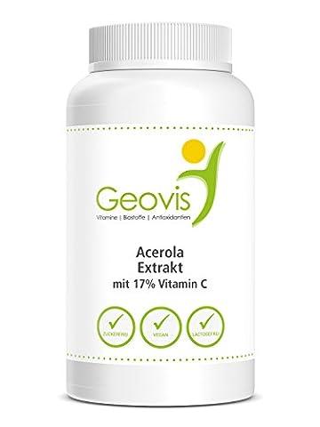 Acerola Extrakt 750g Pulver - Vitamin C, Antioxidans, Radikalfänger, Immunabwehr, Vegan - Geovis - 750g in Pulverform mit 17% natürlichem Vitamin