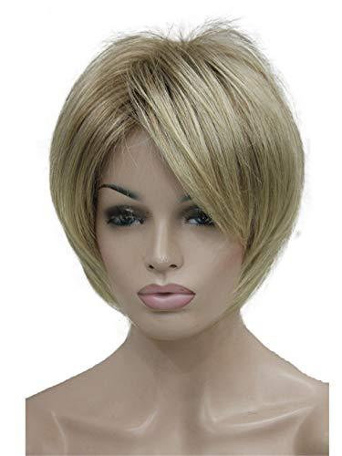 Kurzes Weiches N Seidig Geschichtetes Shag Brown Mit Blonder Hervorgehobene, Vollsynthetische PerüCke Ab602 6Inches (Shag Perücke Kostüm)