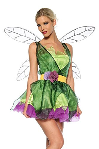 KULTFAKTOR GmbH Süsse Fee Elfe Damenkostüm Märchen grün-lila - Der Floh Kostüm