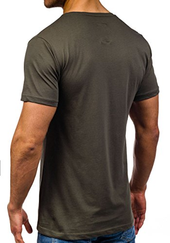 BOLF Herren T-Shirt Tee Kurzarm Rundhals Slim Fit Party Print Classic 3C3 Motiv Khaki