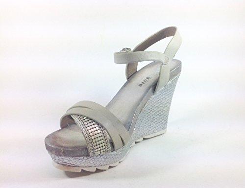 Scarpe donna sandali con zeppa in ecopelle JB176 Ghiaccio