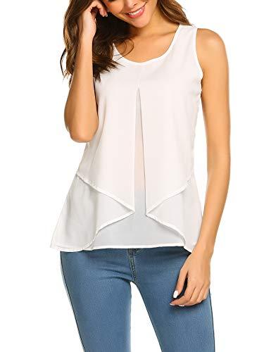 Beyove Damen Ärmellose Bluse Chiffon V-Ausschnitt Elegant Weste Top Hemdbluse Doppelschicht Sommer Loose fit T Shirt (L, B+Weiß)
