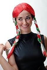 Idea Regalo - WIG ME UP XR-013 Parrucca Donna Trecce Fan Calcio EM WM Italia Rosso Verde Bianco