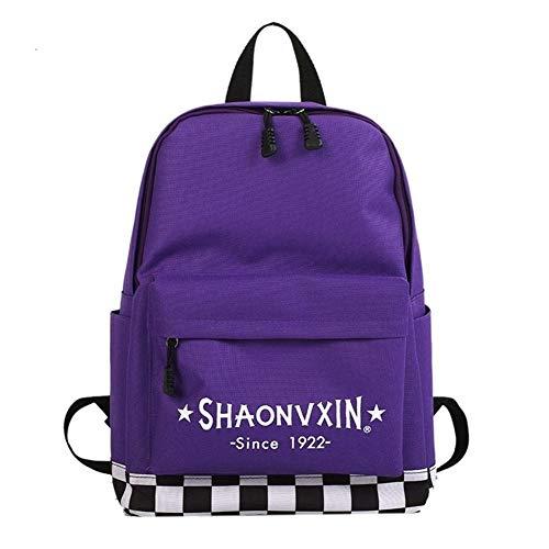 DANANGUA Plaid Letter Print Casual Leinwand Rucksack Hochwertige Unisex Harajuku Mädchen Fashion Travel School Umhängetasche (Color : Purple, Size : 14 inches) -