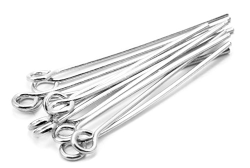 Cousin Jewelry Basics Platinum Plate 25mm Eye Pin, 12-piece