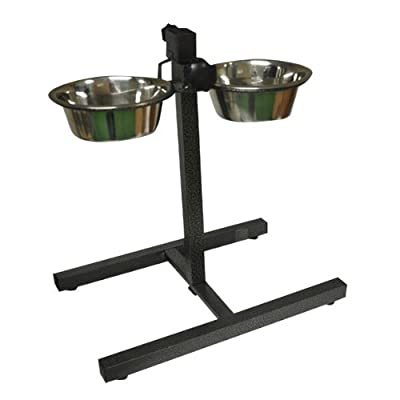Stainless Adjustable Double Diner Steel Bowls Food Feeding Pet Dog Bowls Stand from Bonnington