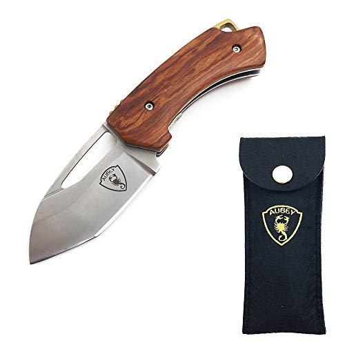 AUBEY EDC Messer Mini Klappmesser Holzgriff Taschenmesser Klein Outdoor Survival D2 Stahl Gürtelmesser mit Clip/Schlüsselanhänger Folder Pocket Knife (Rot) -