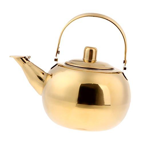 non-brand Sharplace Camping Angeln Wasserkocher Kaffee Teekanne aus Edelstahl - Gold, 1L