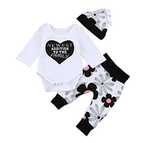 Neugeborenen Outfits Kleidung Mädchen Babykleidung Kleinkind Strampler Tops Floral Hosen Hut Tops Set Jungen Kinderbekleidung Lange Hülsen Spielanzug Blumen T-Shirt (0M-24M) LMMVP (Weiß, 70 cm)
