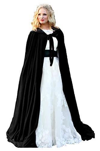 zen Braut Cape Samt Lange Hochzeit Wraps Bride Mantel Jacke Weihnachten Mäntel Halloween Kap Fluwelen Wicca Robe Vampir Schal Cosplay Partei Heks Kostüm ()