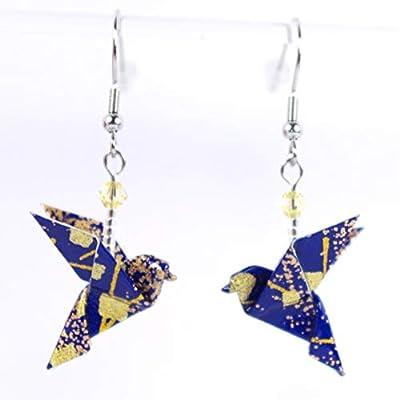 Boucles d'oreilles colombes origami bleu marine et dorées en papier japonais