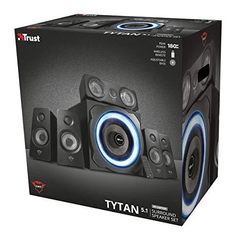 Trust Gaming GXT 658 Tytan 5.1 Surround Lautsprecher Set mit Fernbedienung (180 Watt, LED Beleuchtung) schwarz - 8