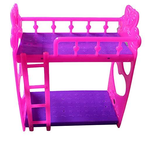 Carry stone Premium-Qualität Cartoon Etagenbett Möbel Kinder Spielzeug Zubehör für Barbie Dolls House - Rose Red - Kinder-möbel-etagenbetten