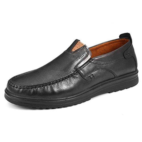 Gracosy Chaussures de Ville Homme, Mocassins en Cuir Microfibre Loafter Bateau Slip On A Enfiler Pour Travail Mariage - Noir (Grille de Taille A Voir) - 45 EU
