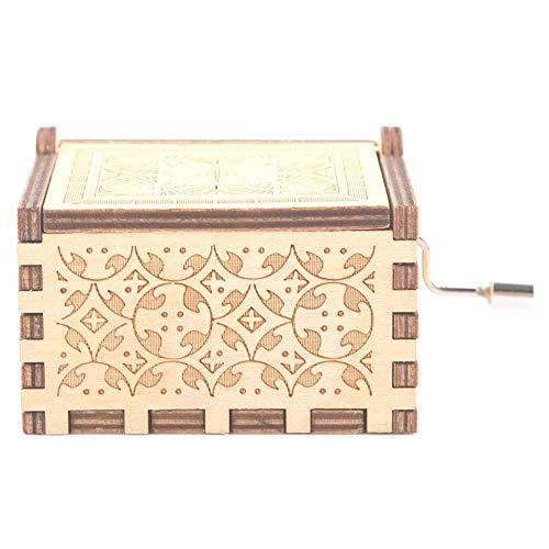 Boquite Caja de música, manivela Tallada de Madera grabada de Madera, música, Juguetes, Regalos para niños, decoración para el hogar(# 2: Color de Madera: la Bella y la Bestia)