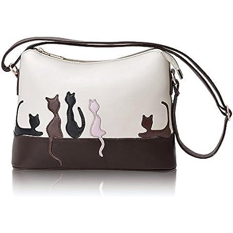 Hotrose Las mujeres bolso de cuero del hombro del bolso de la taleguilla del monedero del totalizador del mensajero