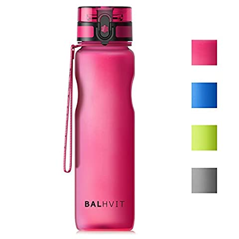 Balhvit Water Bottle, Leak Proof BPA Free Tritan Sports Water Bottles 1 Liter with Time Markings & Flip Top Lid & Fliter, Eco Friendly Cycle Drinks Bottle for Running, Gym, Outdoors and Camping,