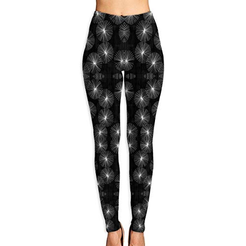 Deglogse Pantaloni da Yoga, Leggings da Allenamento,Dandelions Black White Yoga Pants for Women Sport Tights Workout Running Leggings
