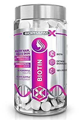 Biotin Hair Growth Supplement (10,000mcg – 365 Tablets / 1 Year Supply) 100% Pure Certified : Healthy Nail & Hair Growth, Maintenance of Normal Skin