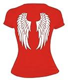 buXsbaum Damen Girlie T-Shirt Engelsflügel | Rückendruck | Karneval Fasching Halloween Kostüm Funshirt | XL, Rot