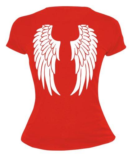 buXsbaum Damen Girlie T-Shirt Engelsflügel   Rückendruck   Karneval Fasching Halloween Kostüm Funshirt   M, Rot