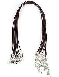 10 Unids Collar Cuerda de Cera, Cordón de Cuero Encerado Hecha A Mano Unisex Ajustable para Hacer La Joyería DIY Collares Pulseras(marrón)