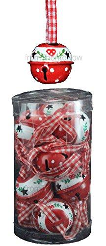 Gisela Graham Tube 12kleine Rot & Weiß Jingle Sleigh Bell Weihnachtsbaum Dekorationen