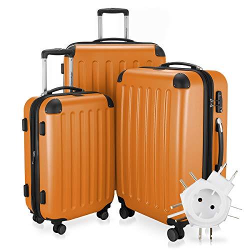 Hauptstadtkoffer - Spree - 3er-Koffer-Set Trolley-Set Rollkoffer Reisekoffer-Set Erweiterbar, TSA, 4 Rollen, (S, M & L), Orange inkl. Universal Reiseadapter