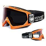 TWO-X Race Crossbrille orange Glas getönt schwarz grau MX Brille Motocross Enduro Motorradbrille Anti Scratch MX Schutzbrille