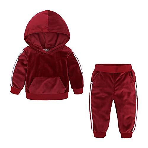 Hongyuangl Kinder Zwei Stücke Samt Hoodie Trainingsanzüge Langarm Kapuzenpullover und Jogginghose 2-8 Jahre