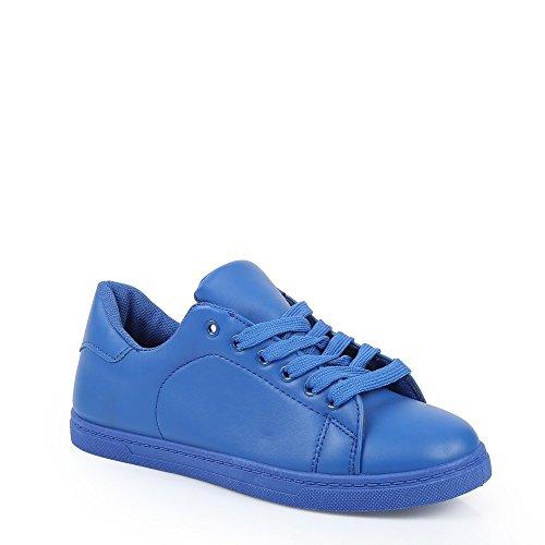 Ideal Shoes–Sneaker basse in similpelle e colorate Jihane Blu