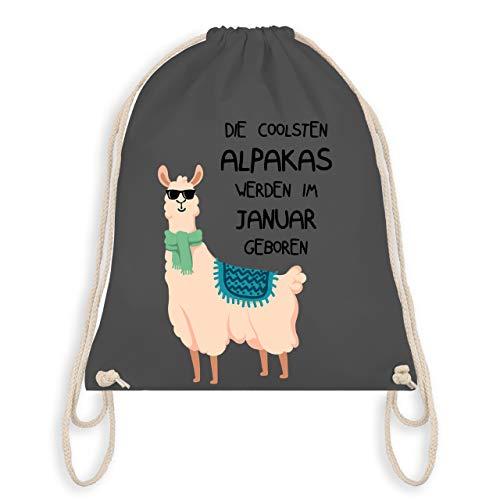 Geburtstag - Die coolsten Alpakas werden im Januar geboren Sonnenbrille - Unisize - Dunkelgrau - WM110 - Turnbeutel & Gym Bag