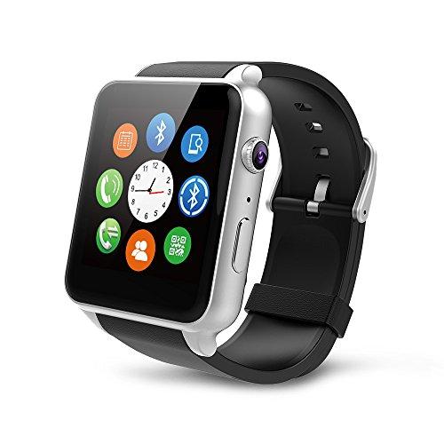 "MEMTEQ? Reloj inteligente con Bluetooth 1,54"", pantalla táctil con cámara de 1,3MPS para teléfono Andorid Samsung/HTC/LG/Huawei/ZTE plata..., color Argent Android/IOS"