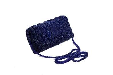 Perfect Handbags - Petit sac à main pochette avec perles - Bleu royal