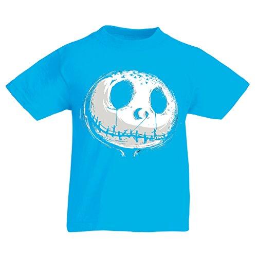 Kinder T-Shirt beängstigend Schädel Gesicht - Alptraum - Halloween-Party-Kleidung (14-15 years Hellblau (Kostüme Ninja Schädel Kinder)
