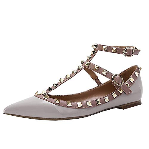 Lutalica Damenmode Spitznieten Nieten Casual Komfort Ballerinas Riemchen Flache Schuhe Patent Grau Größe 41 - Womens Casual Ballet Flat