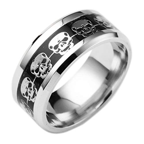 Ringe für Damen Herren, Winkey Edelstahl Punk Style Ring Totenkopf Hip Hop Finger Ring Hochzeit Schmuck Diameter: 17.4mm silber