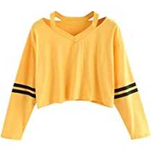 Mujer Sudaderas Cortas ,SMARTLADY Otoño Invierno Nuevo Moda Camiseta de Manga Larga Blusa Tops
