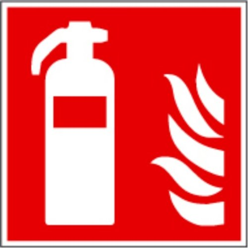 """Symbol-Schild \""""F001 Feuerlöscher\"""", ASR A1.3 und ISO 7010, 15x15 cm, Kunststoff, nachleuchtend, selbstklebend"""