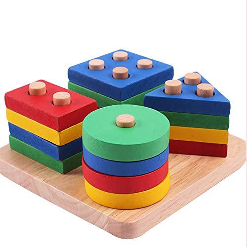 Geometrische Sortierung Board Stack pädagogische Holz-Spielzeug-Bray Brain Teaser Wood Puzzles 3 Jahre alte Kinder ()
