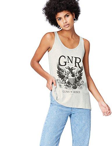 find. Damen Tanktop mit Guns N' Roses-Print, Grau (Grey), 40 (Herstellergröße: Large)