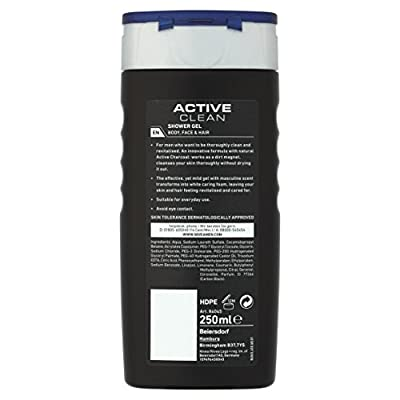 NIVEA MEN Shower Gel, Active Clean with Charcoal, 250 ml