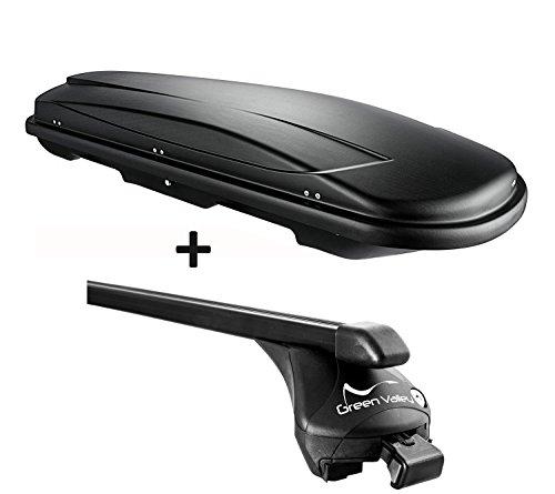 VDP Skibox Schwarz Juxt 600 Liter abschließbar + Relingträger Offene Reling Set kompatibel mit VW Golf Sportsvan ab 2014 bis 100kg