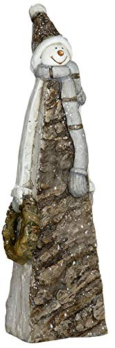dekojohnson Schneemann - Deko Weihnachtsdeko Schneemann - Figur in Rindenoptik in braun grau 50cm groß aussen innen
