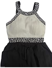c8cb8ae0fba STYLE MIXX Womens Black Cream Stone Sequin Diamante Prom Evening Maxi  Sleeveless Dress 6-14