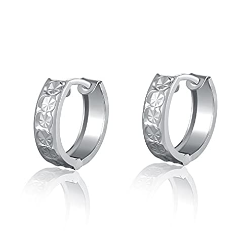 14ct 585 White Gold Round Huggie Creole Hoop Earrings with Diamond Cut, Women Jewellery Valentines Day Anniversary Wedding Gift
