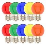 E27 Farbige Glühbirne,Rot Orange Gelb Grün Blau,Globe Lichterkette bunt, Innen- Außen Lichterkette glühbirne, Weihnachtsbeleuchtung für Weihnachten Hochzeit Party Weihnachtsbaum-10er Pack