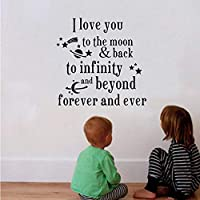 Bomdow I Love You to The Moon and Back Kids Bed Room Wall Beautiful Nursery Wall Decor Stickers60X58 cm
