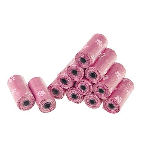 UEETEK Hundekotbeutel Biologisch Abbaubar Kotbeutel 12 Rollen (Rosa)